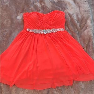 Strapless coral formal dress